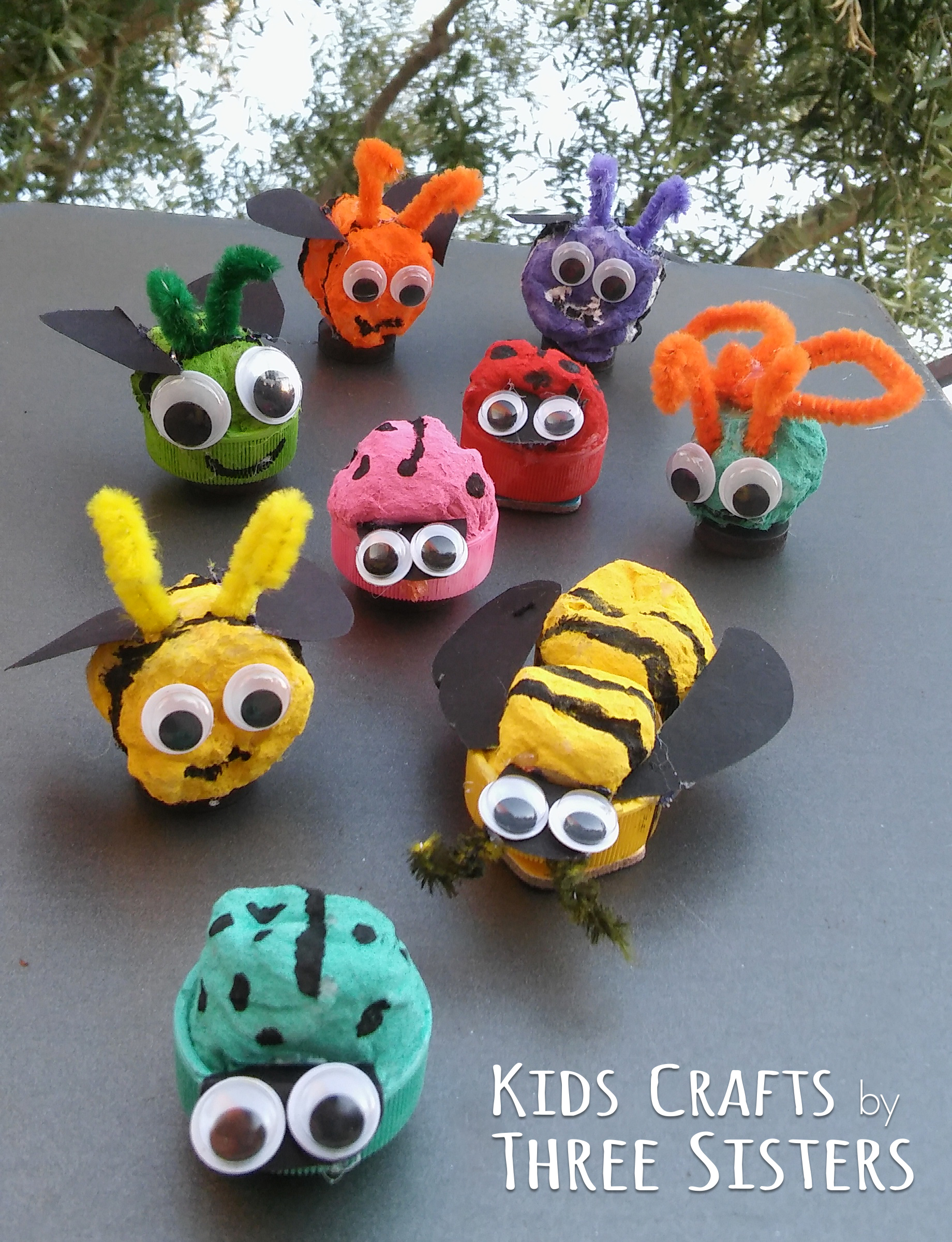 Bug Magnets made from Bottle Caps & Cotton Balls