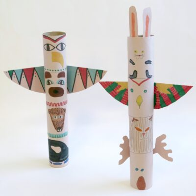 Cardboard Tube totem pole craft for kids