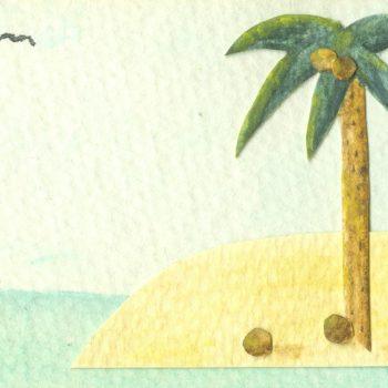 Watercolor Island Scene