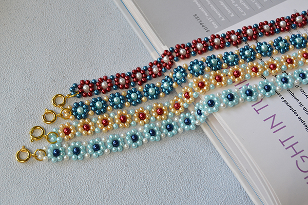 How to Make Light Cyan, Yellow, Blue and Red Pearl Bead Flower Bracelets for Friends