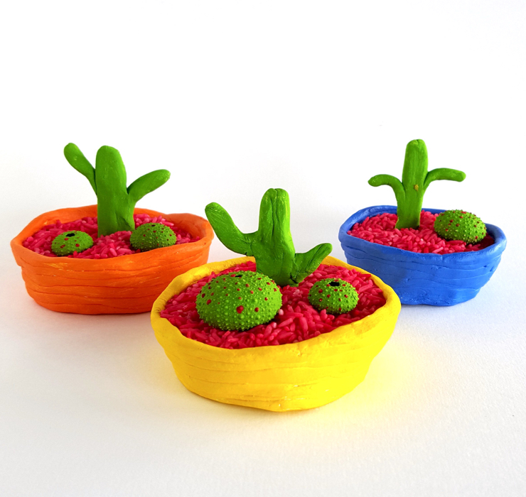 A beautiful cactus garden, made of clay!