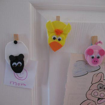 Clothespin Farm Animal Magnets