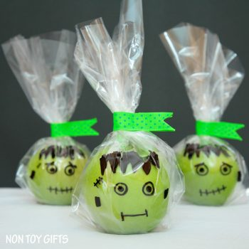 Frankenstein apple treat.  Healthy, no-candy Halloween treat for kids.