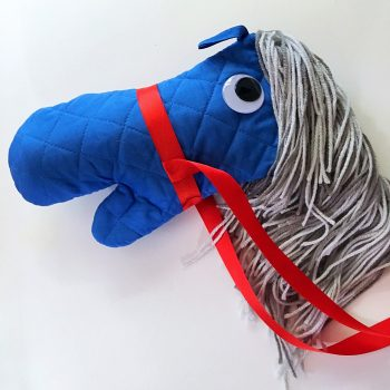 No Sew Stick Horse-Tutorial for creating diy horses with cheap supplies from the dollar store.  Great for a party activity or costume accessory.