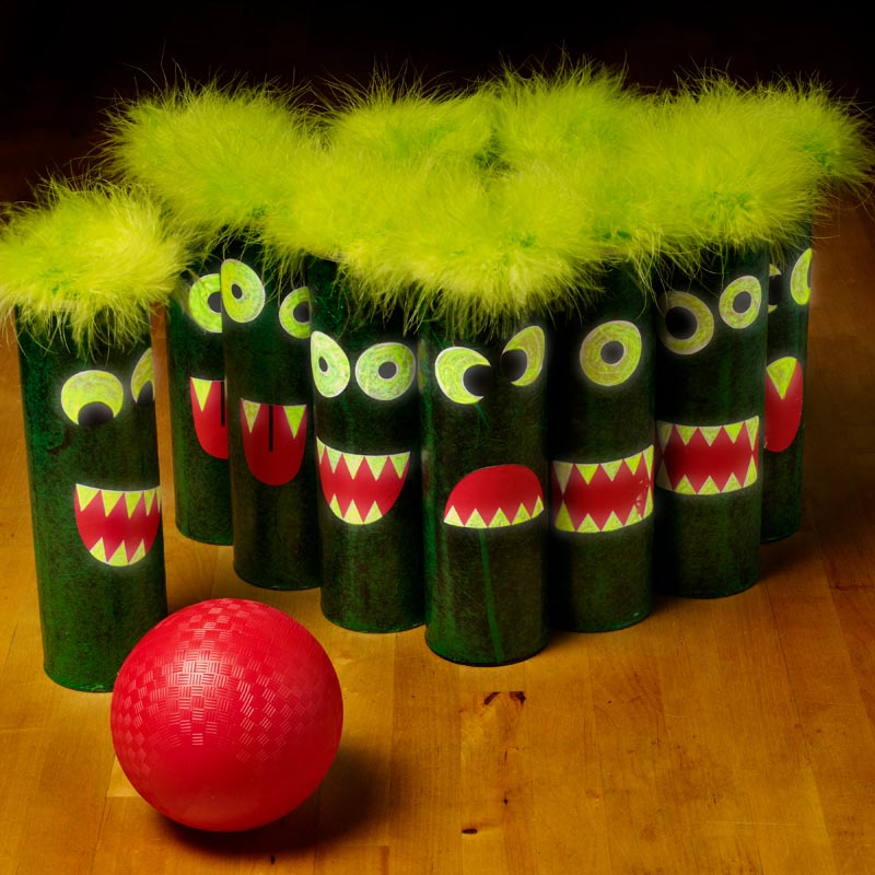 A monster bowling game that glows in the dark!