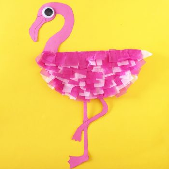 Make a fluffy paper plate flamingo!