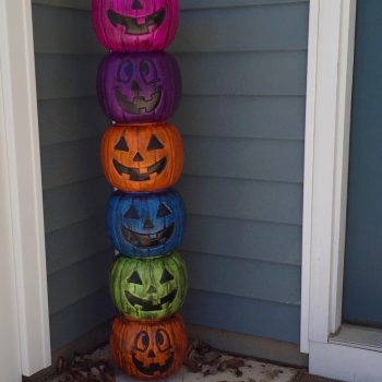 Weathered Plastic Pumpkin Totem Pole