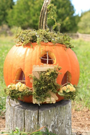 A fun and playful pumpkin fairy house tutorial that even lights up! Great kids' craft for fall or Halloween -Click through to learn how to make yours.