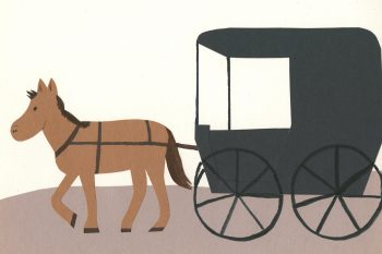 Make Amish Buggy Art using construction paper.