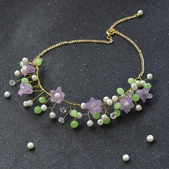 Wire-Wrapped Beaded Flower Necklace