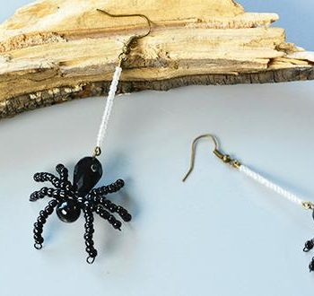 Beaded Spider Earrings for Halloween
