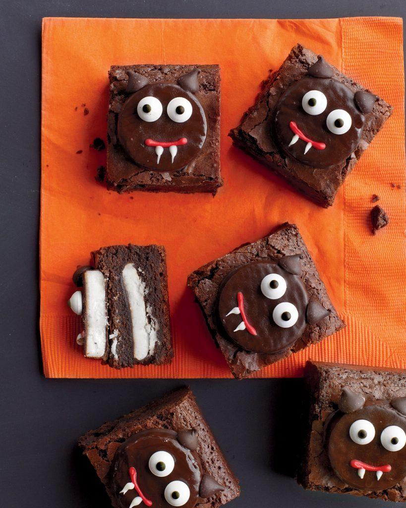 Minty fudge vampire brownies for Halloween.