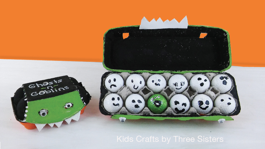 Kids Halloween party game made from egg cartons & golf balls