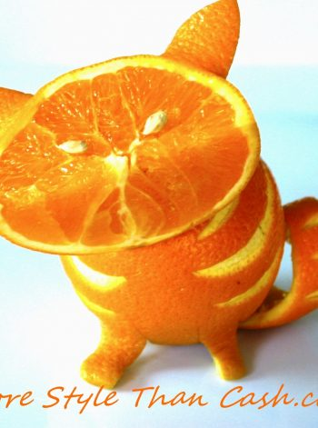 Orange Cat Fruit Sculpture