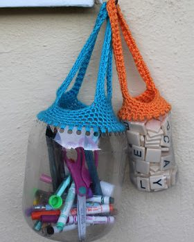 Crochet Recycled Containers