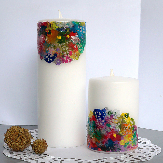 Colorful lace candles