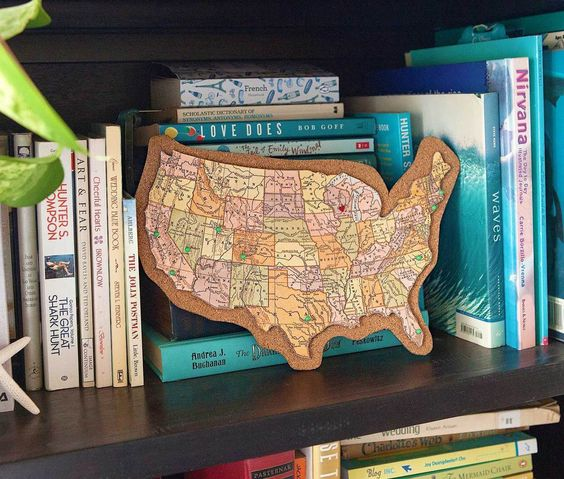 Track your travels with this corkboard map.