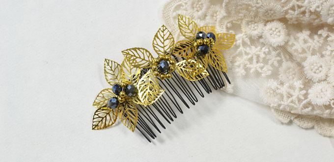 How to Make a Gold Leaf Decorated Hair Comb for Autumn Days