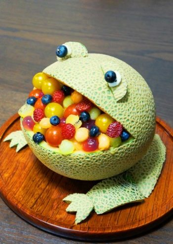 Turn a melon into an adorable fruit bowl!