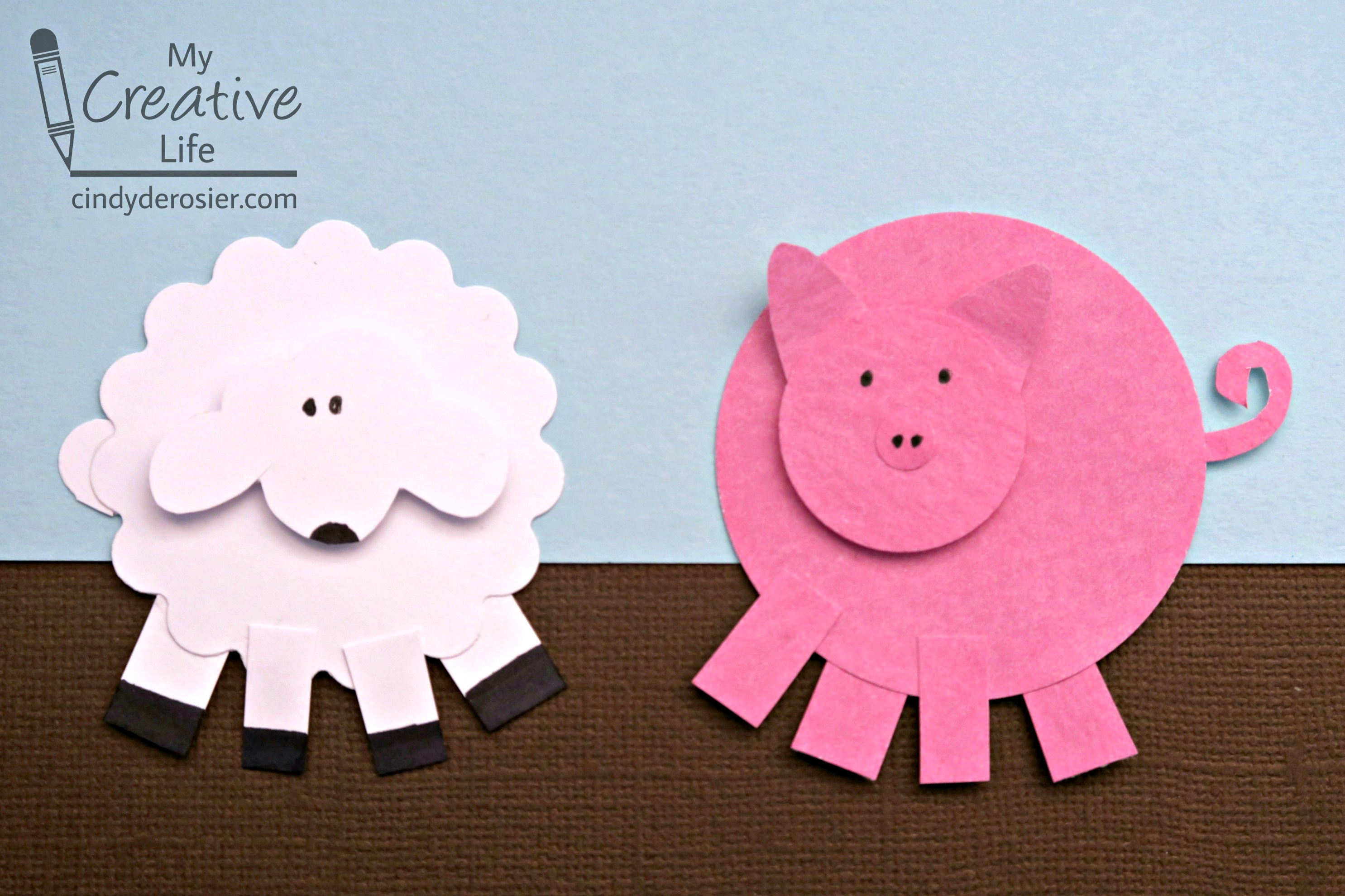Create cute farm animals using paper punches.
