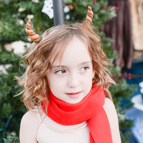Tutorial for making a Mr. Tumnus (from The Lion, the Witch, and the Wardrobe) Halloween costume, including horns, scarf, and fur pants.