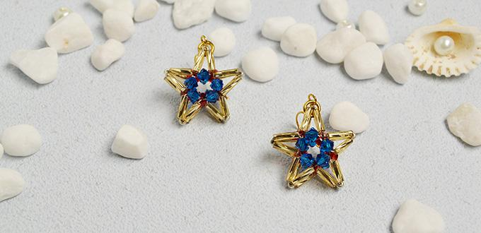 How to Make Sparkling Star Dangle Earrings with Glass Beads and Bugle Beads