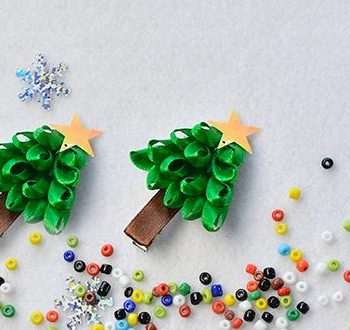 Christmas Tree Ribbon Barrettes