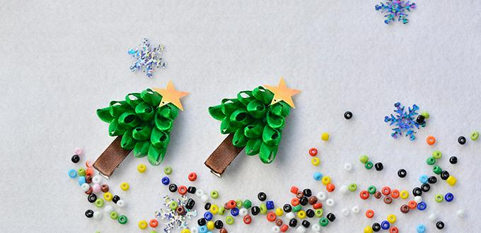 Pandahall Christmas Jewelry - How to Make Ribbon Christmas Tree Hair Clips