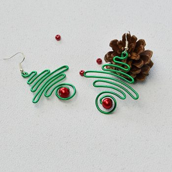 Wire Wrapped Christmas Tree Earrings