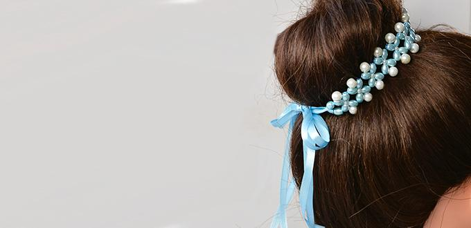 How to Make Fresh Beaded Hair Accessory with Satin Ribbon and Pearl Beads