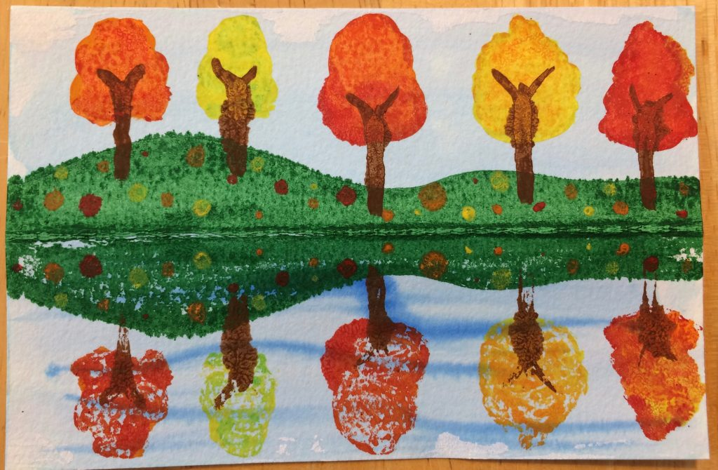 Fall Trees Reflected in a Pond Art Lesson