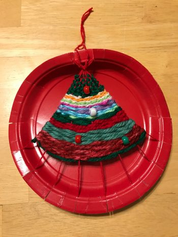 Weave your own Christmas Tree on a paper plate loom