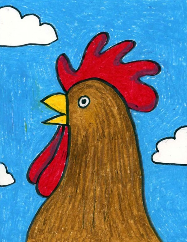 Drawing a rooster is so easy to do!