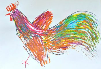 No brush needed to make this cool rooster art!