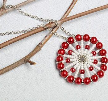 Seed Bead Safety Pin Pendant Necklace