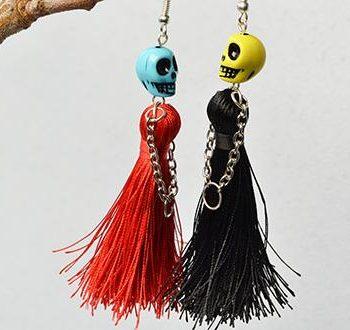 Halloween Skull and Tassel Earrings