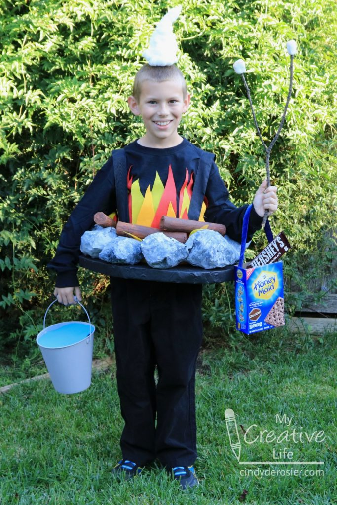 This creative campfire costume lights up for safety during trick-or-treating!