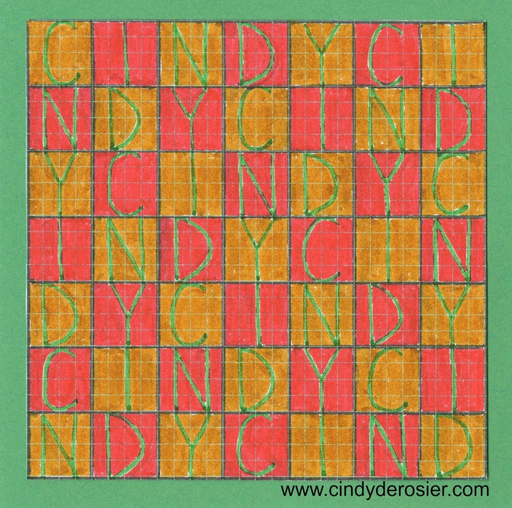 Easy name art using just graph paper and pens