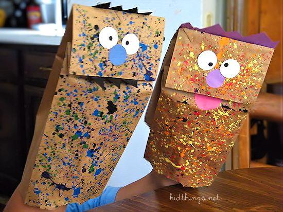 Paint splatter monster puppets - tons of fun!
