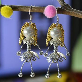 Wire Wrapped Pearl Doll Earrings
