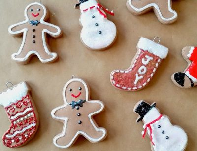 Adorable baking soda gingerbread ornaments.