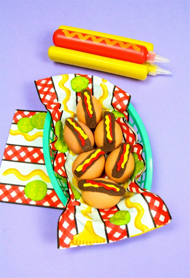 Adorable Easter eggs that look like hot dogs!
