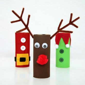 Cardboard Tube Reindeer, Santa and Elf