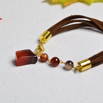 Agate and suede cord bracelet