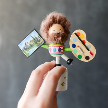 Turn an old fashioned wooden collapsing/dancing toy into a magnificent Dancing Bob Ross!  Happy little me.