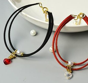 Suede Cord and Heart Bracelets