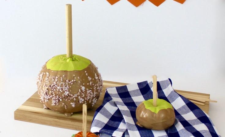 It's a no-carve pumpkin, decorated as a caramel apple!
