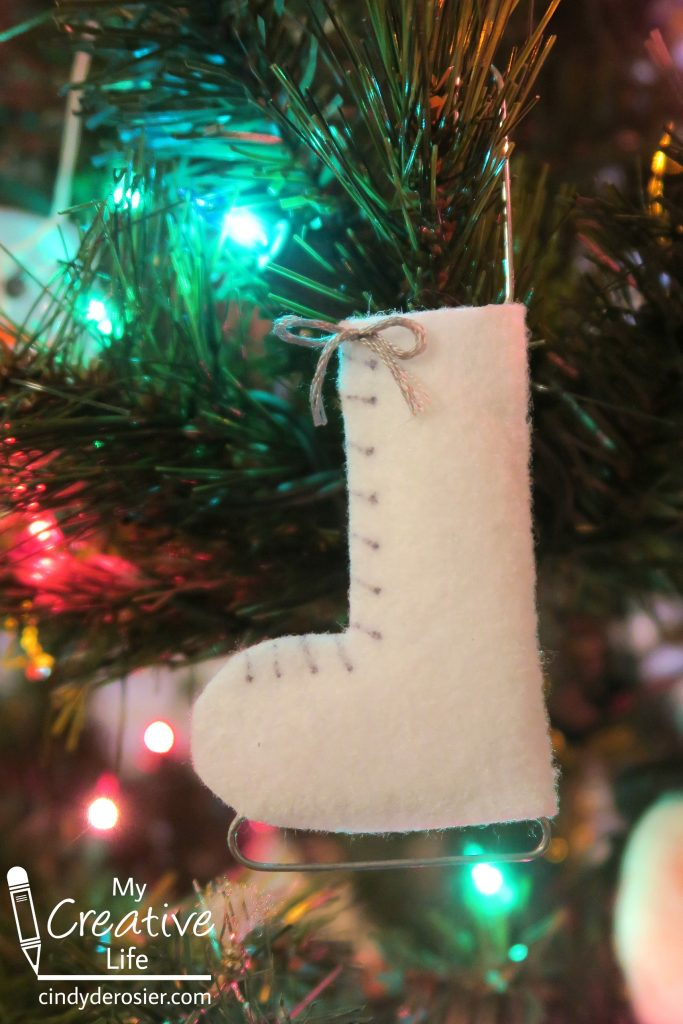 No-sew felt ice skate ornament