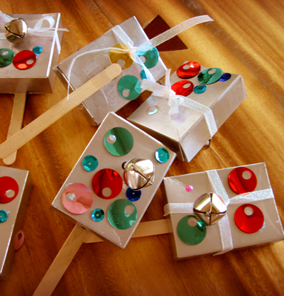 Use empty raisin boxes to make noisemakers for New Year's Eve.