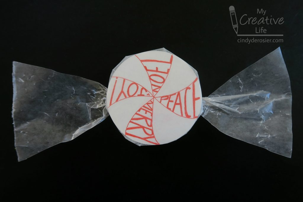 Wax paper turns a doodled circle into faux peppermint candy!